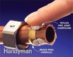 Lubricate the ferrule and brass ring with pipe joint compound. Plumbing Tools, Plumbing Pipe, Bathroom Plumbing, Plumbing Fixtures, Plumbing Solder, Rooter Plumbing, Plumbing Humor, Plumbing Vent, Pvc Pipes