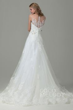 Chic A-Line Illusion Natural Court Train Tulle and Lace Ivory Sleeveless Zipper With Buttons Wedding Dress with Appliques and Beading CWXT15016#cocomelody #weddingdresses #vintageweddingdresses