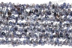 Iolite Smooth Drops (Side Drill) (Quality B) / (A pack of 4 strands) / 3x6 to 4.5x8 mm / 14 to 16 Grms / 36 cm / IO-010 by GemstoneWholesaler on Etsy