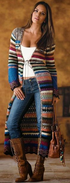 / knitted and knitted bohemian sweater coat / boho style / - . / knitted and knitted bohemian sweater coat / boho style / - # Bohemian Always want. Hippie Stil, Mode Hippie, Boho Stil, Mode Boho, Hippie Boho, Cardigan Au Crochet, Crochet Coat, Crochet Clothes, Crochet Shoes