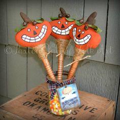 Pumpkin Halloween Decorations Three by PaxtonValleyFolkArt on Etsy, $25.00