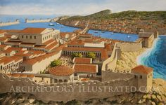 Knidos, Hellenistic - Roman city in southwestern Turkey, 2nd century AD. Painting is based on my photos taken at the site and current excavation plans.
