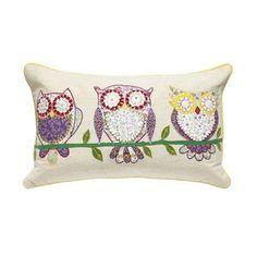 Debenhams Natural three owl cushion- at Debenhams.com
