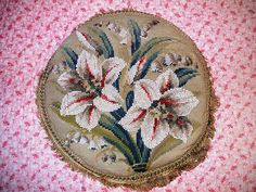 Beaded Berlin woolwork cushion by the vintage cottage
