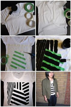 "Maybe with fabric paint instead...    ""DIY acrylic painted geometric shirt by eliza"""