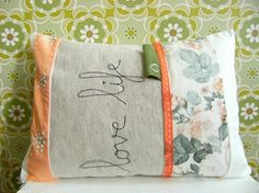 Love Life pillow in vintage peachy pink