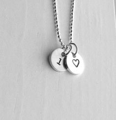Sterling Silver Initial Charm Necklace Letter by GirlBurkeStudios