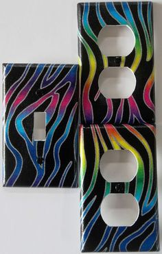 Rainbow Zebra Print wallpaper border wall decals for teen girls