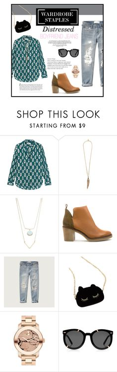 """""""Wardrobe Staples: Distressed BF Jeans"""" by mandy-saur ❤ liked on Polyvore featuring Equipment, Roberto Cavalli, Robert Rose, Miista, Abercrombie & Fitch, WithChic, Movado, Karen Walker, contest and contestentry"""