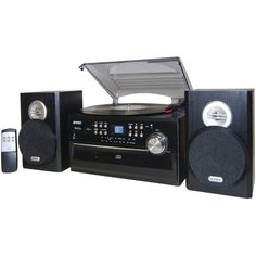JENSEN JTA-475 3-Speed Turntable with CD, Cassette & AM/FM Stereo Radio