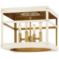 Hinkley 4071HB-WT Porter 4 Light 12 inch Heritage Brass with Warm White Foyer Flush Mount Ceiling Light