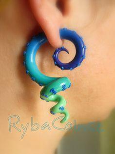 Fake ear tentacle gauges - Faux gauge/Gauge earrings/Tentacle plug/tentacle earrings /spiral gauge/ fake piercing