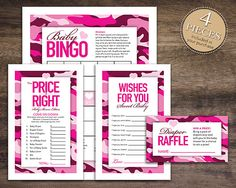 Hot Pink Camo Baby Shower Games Package For Baby Girl, Instant Download, Pink  Camo Bingo Cards, Camo Price Is Right, Camo Wishes For Baby, Pink Camouflage  ...