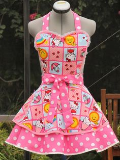aa14bfb79 Made to orderSexy Hello Kitty Apron Double by ApronsByVittoria, $44.99 Cute  Aprons, Sewing Aprons