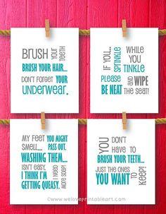 Bathroom Decor Bathroom Art Prints Bathroom by WeLovePrintableArt,Bathroom Decor, Bathroom Art Prints, Bathroom Rules, Kids Bathroom Wall Quotes, Wash Brush Floss Flush, Typography