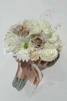 Beautiful Bridal Bouquet in Mocha & Ivory with Roses & Gerberas