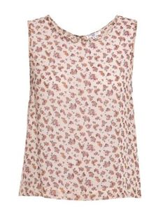 White Pattern (White) Pink Rose Bud Button Back Vest | 257190419 | New Look