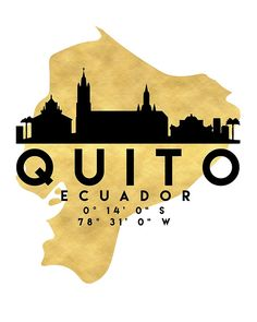 QUITO ECUADOR SILHOUETTE SKYLINE MAP ART - The beautiful silhouette skyline of Quito and the great map of Ecuador in gold, with the exact coordinates of Quito make up this amazing art piece. A great gift for anybody that has love for this city. quito ecuador downtown silhouette skyline map coordinates souvenir gold deificus art