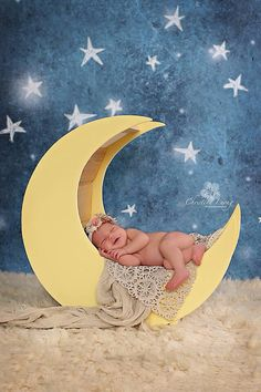 Moon Newborn Wood Photo Prop Newborn Moon by PJsCraftingCorner, $100.00