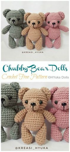 Teddy Bear Patterns Free, Doll Patterns Free, Crochet Amigurumi Free Patterns, Crochet Animal Patterns, Stuffed Animal Patterns, Crochet Teddy Bear Pattern Free, Knitting Patterns Free, Free Knitting, Crochet Gratis