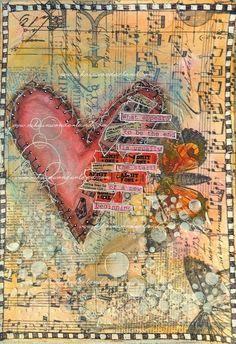 ART JOURNAL PAGE   BROKEN HEART – Nika in Wonderland Mixed Media Tutorials