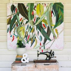 That old sewing machine — Ruth de Vos: Art Botanical Art, Botanical Illustration, Illustration Art, Pottery Painting Designs, Old Sewing Machines, Tropical Art, Leaf Art, Applique Quilts, Textiles