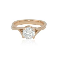 Round Diamond Solitaire Engagement Ring with Twisted Rose Gold Shank - LS4232