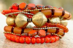 Tangerine Orange Glass and African Brass Multi-Strand Cuff Bracelet
