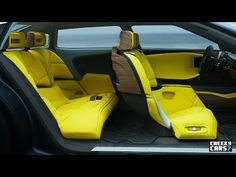 video clip of NEW Citroen CXPERIENCE CONCEPT 2016 INTERIOR yellow and black and brown wood grain dash
