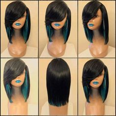 Medium Side Parting Feathered Straight Colormix Synthetic Wig - Black And Green Hairstyles With Bangs, Weave Hairstyles, Black Hairstyles, Wig Styles, Short Hair Styles, Cheap Wigs Online, New District, Affordable Wigs, Synthetic Wigs