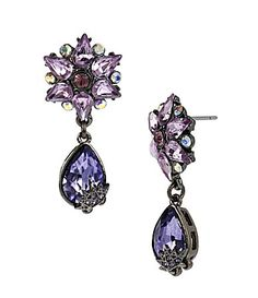 Pretty, purple, necessary. Betsey Johnson Iconic Celestial Collection Starburst and Gem Drop Earrings #Dillards