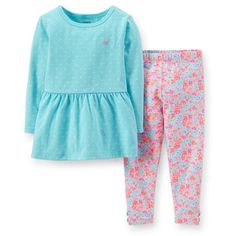 2-Piece Peplum Top & Floral Pant Set