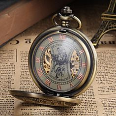 Men's Watch Pocket Watch Mechanical Vintage Alloy Bronze Case