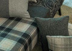 LANA HIGHLAND by Englisch Dekor: Lanas lisas, jacquards, bordados, cuadros y listas. / Llanes llises, jacquards, brodats, quadres i ratlles. Fabric Decor, Fabrics, Throw Pillows, Bed, Home, Tejidos, Needlepoint, English, Toss Pillows