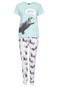 Hippo Print Pyjama Set - Topshop -- thi has me written all over it! Cute Hippo, Baby Hippo, Hippopotamus For Christmas, Pajama Set, Style Me, Topshop, Cute Outfits, Fashion Outfits, Giraffe
