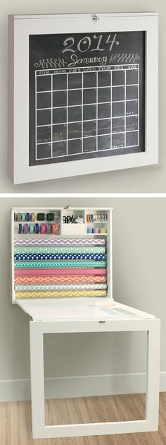 Hacks For Living Large In Small Spaces Fold Down Gift Wrap Station & Craft Work Table With Chalkboard.Fold Down Gift Wrap Station & Craft Work Table With Chalkboard. Craft Organization, Craft Storage, Small Space Living, Small Spaces, Living Spaces, Living Room, My New Room, Life Hacks, Space Saving