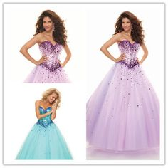 Ball Gown Sweetheart Sleeveless Floor Length Tulle Satin Purple Pink Squins Crystals Prom Dresses (http://www.globebuy.com/i/107079.jhtml)