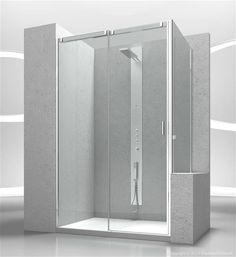 ... doccia con apertura scorrevole con parete fissa per piatti doccia