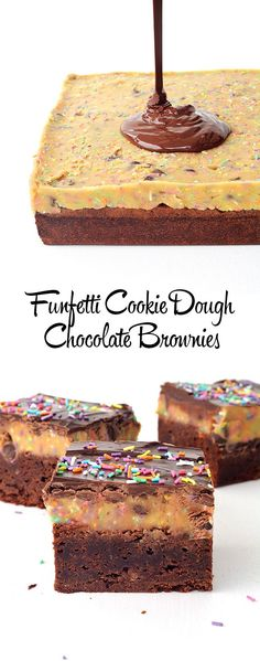 Funfetti Cookie Dough Chocolate Brownies - Handle the Heat