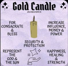 Witch Spell Book, Witchcraft Spell Books, Sigil Magic, Magic Spells, Candle Magic, Candle Spells, Candle Meaning, Gods Strength, Gold Candles