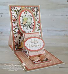 A gorgeous fun fold card using the Bird Ballad DSP by Stampin' Up! Lifestyles, lifestyles and quality of life The … Handmade Birthday Cards, Happy Birthday Cards, Greeting Cards Handmade, Fun Fold Cards, Folded Cards, Card Making Tutorials, Making Ideas, Making Tools, Tarjetas Stampin Up