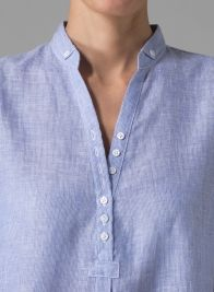 Linen Three-quarter Sleeves Shirt - Blue Stripe