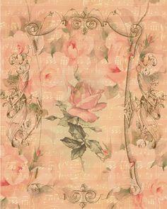 Free-download pink rose sheet music paper
