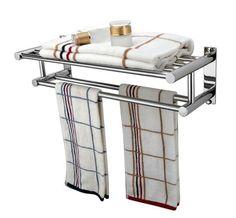 Bathroom Towel Rail Wall Mounted Rack Bath Shelf Rack Chrome Bath Hanger Storage in Home, Furniture & DIY, Bath, Towel Rails | eBay