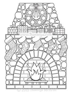 Christmas Fireplace Coloring Poster - xmas christmas diy customize unique gifts presents Coloring Book Pages, Printable Coloring Pages, Nativity Coloring Pages, Christmas Colors, Christmas Art, Beautiful Christmas, Christmas Coloring Sheets, Free Christmas Coloring Pages, Christmas Fireplace