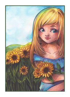 Original Art - Sunflowers from Sakuems by DaWanda.com Emilie Jarrige