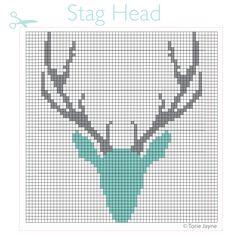 Stag head cross stitch pattern