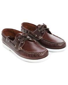 Chaussures bateau Luke cuir lisse café M.STUDIO homme, Bateaux Marron homme