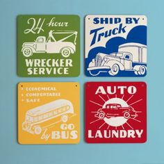 Legend has it that vehicles other than SUVs once roamed the Earth. These vintage signs, reproduced from advertisements from the 1920s and 30s, seem to support this theory.    Details, details        Lightweight aluminum includes mounting holes    Color options        Green Tow Truck      Blue Truck      Yellow Bus      Red Auto