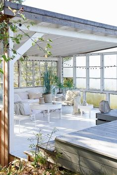 Covered White Patio - You've seen the chic apartments, now prepare to daydream about the Scandi country retreats - interiors on HOUSE by House & Garden Outdoor Rooms, Outdoor Living, Outdoor Furniture Sets, Outdoor Decor, Indoor Outdoor, Porches, Country Retreats, Pergola, Scandinavian Style Home